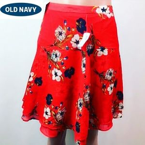 New Old navy floral midi flared skirt size 10